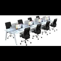 FIRM SATTU Desk 8 Person Configuration - White