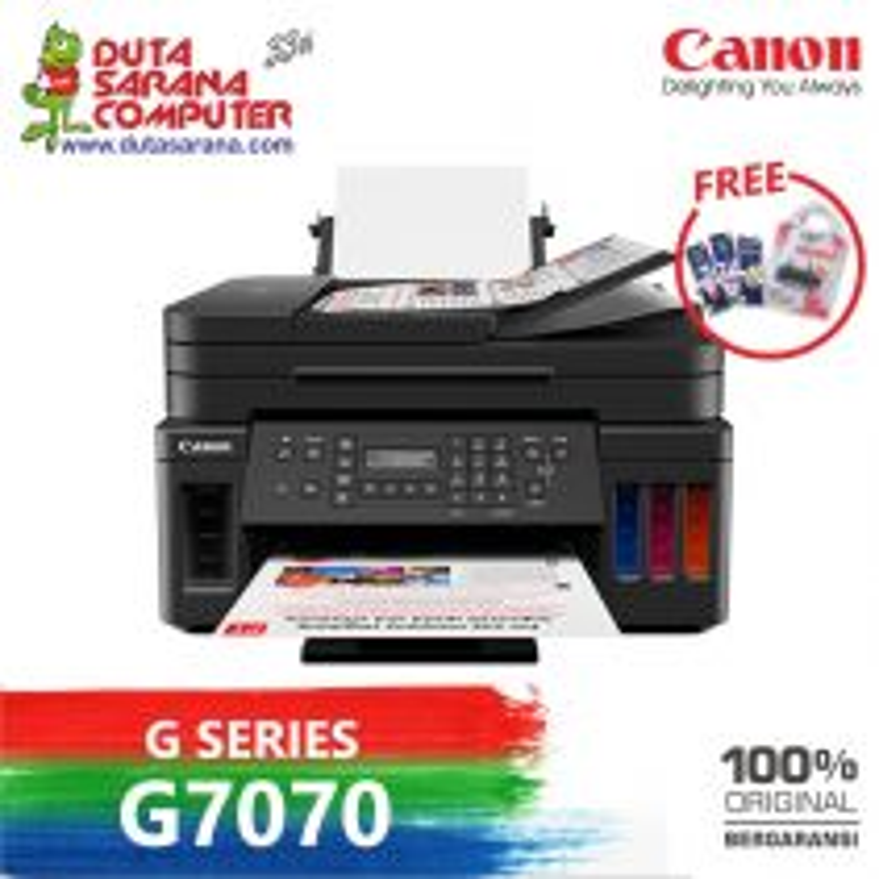 Printer Canon Pixma G7070 Print Scan Copy Wifi Adf Duplex ARS MIN LAN